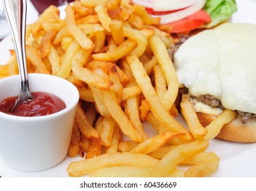 American cheese burger and French fries