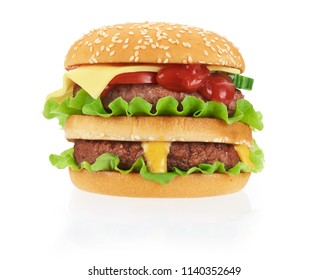 american cheeseburger isolated on white with clipping path