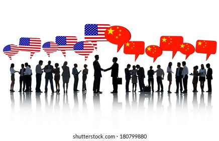 American And Chinese Business Men Shaking Hands