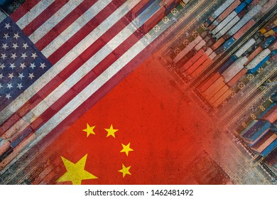 The American and Chinese flags imposed over shipping containers representing trade between the two countries.