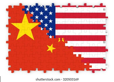 American and Chinese Relations Concept Image - Flags of China and the United States of America Jigsaw Puzzle