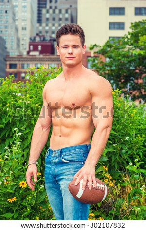american city boy beauty shirtless half stock photo edit now