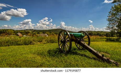 An American Civil War cannon sits in  the side of a Pennsylvania hill.