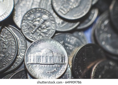 American coins background. Dollars and cents background.