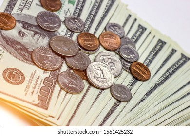 American coins on dollar usa background. Finance and money concept