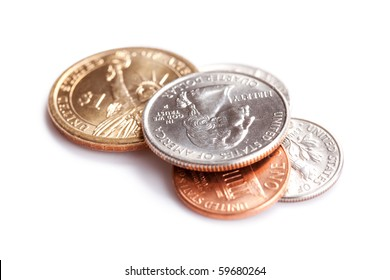 the american coins on white background