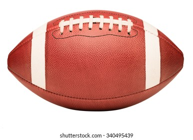 American college high school junior striped football isolated on white background diagonal in frame without shadow