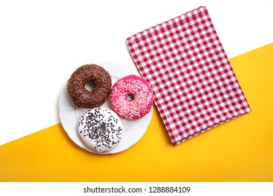 American colored donuts for breakfast