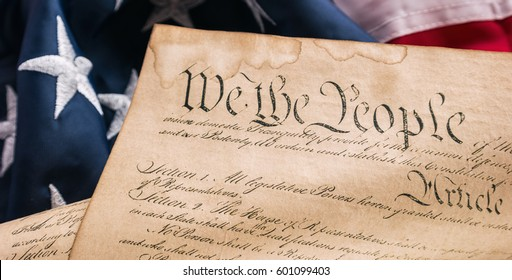 American Constitution - We the people with USA Flag