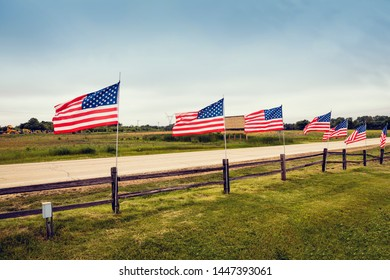 American Country Road With Flags