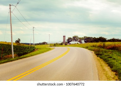 American Country Road Side View