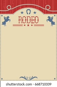 American cowboy rodeo poster.Western paper background for text or design.Raster
