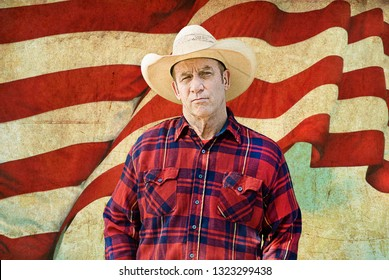 American cowboy with the stripes of the American flag behind him