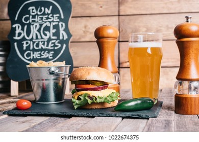 American Craft Beer With Cheeseburger