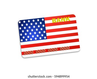 American credit card of bank isolated on white background, 3d illustration