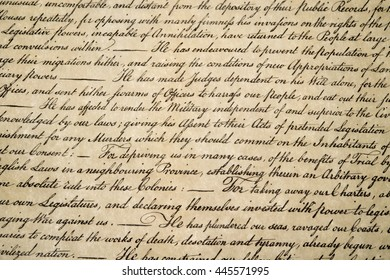 American Declaration of independence 4th july 1776 detail