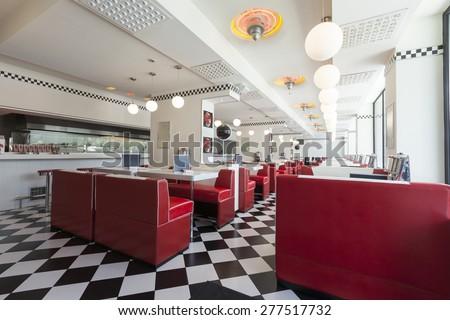 Fußboden Modern Jukebox ~ American diner restaurant stockfoto jetzt bearbeiten 277517732