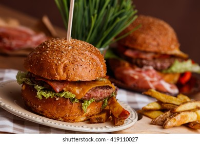 American dinner with hamburger