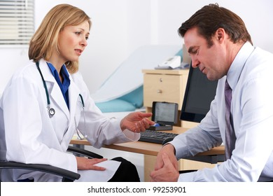 American doctor talking to depressed businessman