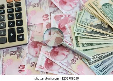 American dollar banknotes and Turksh Lira banknotes
