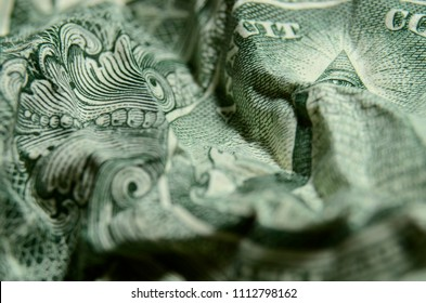 American dollar bill, Eye of Providence from the great seal pyramid, spying. Illuminati, New World Order, conspiracy background.