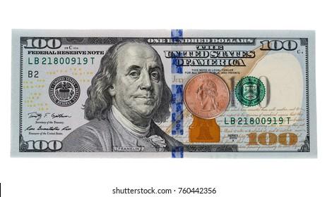 American dollar bill on white background