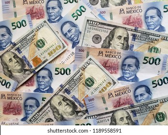 american dollar bills and mexican banknotes unorganized, background and texture