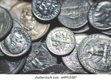 American dollar and cent coins background