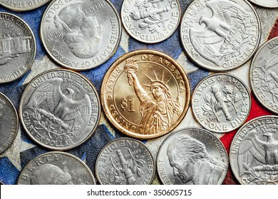 american dollar and cent coins, macro view
