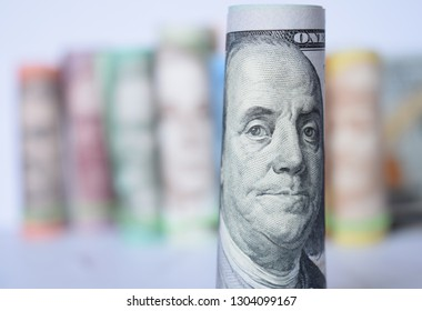 American dollar on the background of Ukrainian hryvnia, the concept of exchange and the hryvnia exchange rate