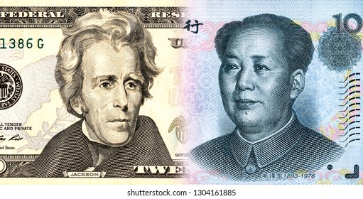 American dollar smoothly into the Chinese yuan. Business concept trade war and economic tax barrier