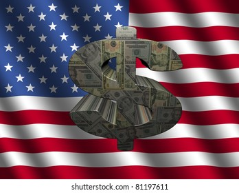 American dollar symbol on rippled flag illustration