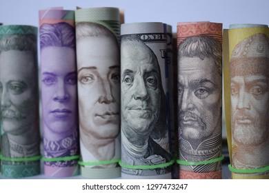 American dollar and Ukrainian hryvnia money, concept of exchange rates