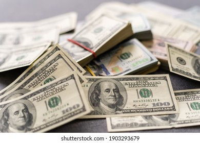 American dollar usa packs on money background. Financial concept
