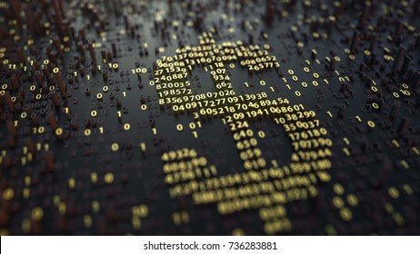 American dollar USD symbol made of golden numbers. Currency or forex related 3D rendering
