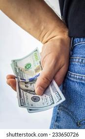 American dollars in back pocket. Money concept