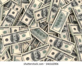 American dollars background.One hundred banknotes. 3D illustration.