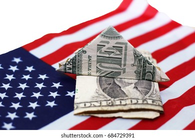 american dollars bills on flag background, finance
