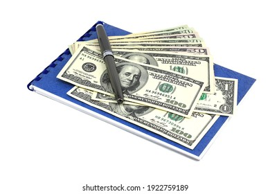 American dollars and classic black fountain pen on blue notebook isolated on white background
