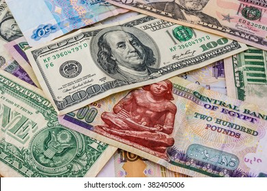 American dollars, egyptian pounds bank notes, money background, dollars photo