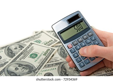 American dollars and female hand holding a calculator, on white background.