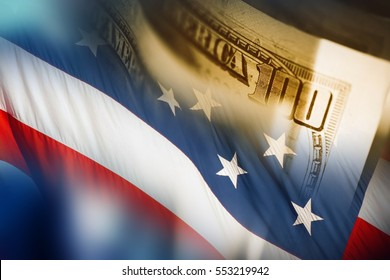 American Dollars and the Flag Conceptual Background. American Financial and Economy Concept.
