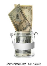 American dollars in glass jar isolated on white