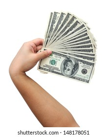 American dollars in hand isolated on white background.