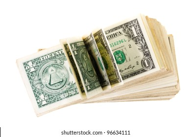 The American dollars isolated on a white background. Focus on the foreground - the unbent denominations. Small depth of sharpness