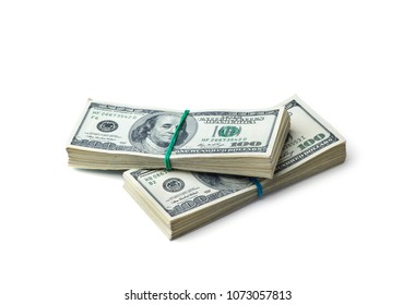 American dollars on white background