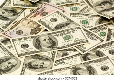 The American dollars on a white background.