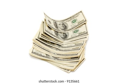American dollars on a white background