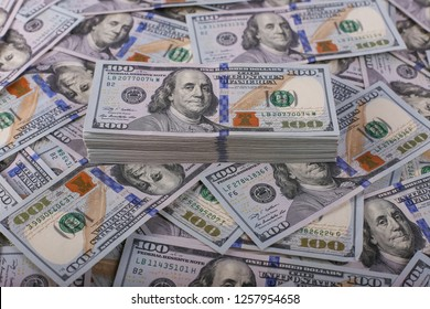 American dollars in one hundred banknotes. Lot of dollars close up