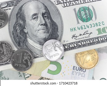American dollars, Russian ruble and Euro close-up. The concept of exchange rates and the financial crisis.